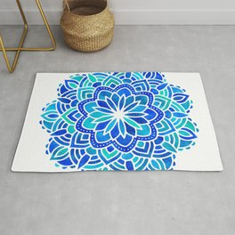 Mandala Iridescent Blue Green Rug