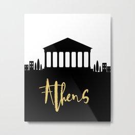 ATHENS GREECE DESIGNER SILHOUETTE SKYLINE ART Metal Print