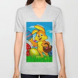 Easter bunny rabbit with Easter basket Unisex V-Neck
