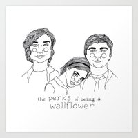 the perks of being a wallflower Art Prints featuring The Perks of Being a Wallflower by ☿ cactei ☿