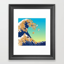 Shiba Inu in Great Wave Framed Art Print