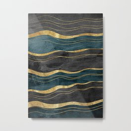 Black & Teal Ink Waves with Gold #1 #decor #art #society6 Metal Print
