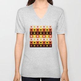 Geometric Pattern #74 (orange stripes squares) Unisex V-Neck