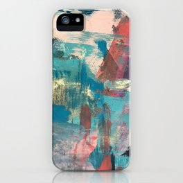 Sugar Rush [2]: a colorful, abstract mixed media piece in pinks, blues, and gold iPhone Case