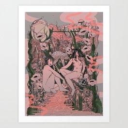 Two Sisters III: Blush & Anemone Art Print