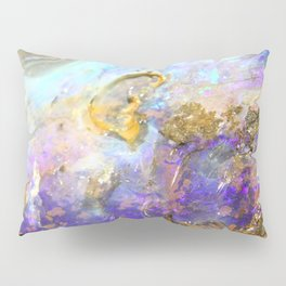Shimmery Blue & Purple Opal Encrusted in Gold Pillow Sham