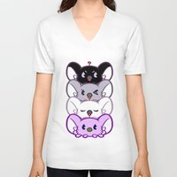 asexual V-neck T-shirts featuring Secret Undercover Asexual Koaloids by Arinko