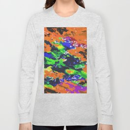 psychedelic splash painting abstract texture in brown green blue yellow pink Long Sleeve T-shirt