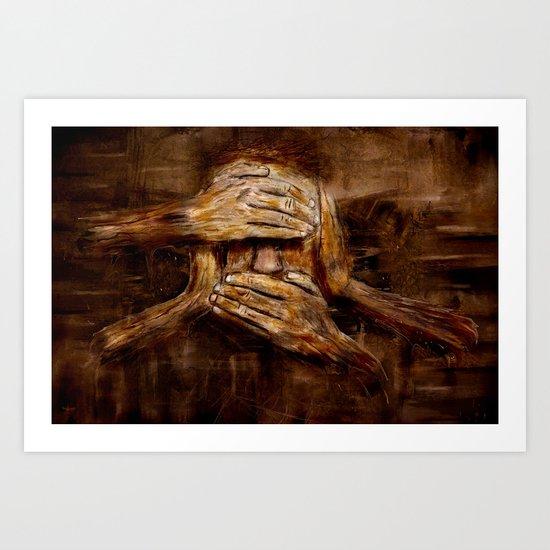 No see - No hear - No speak ! Nothing ! Art Print