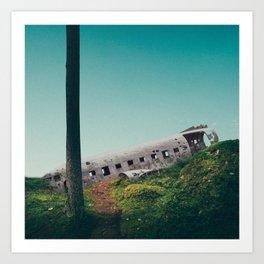 plane crash in the sky-Sólheimasandur Plane Crash Art Print