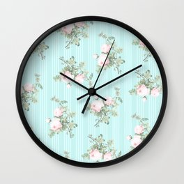 Shabby chic roses pink and mint Wall Clock