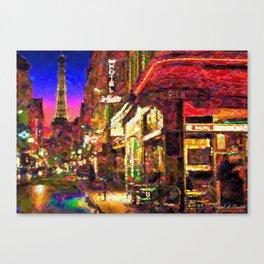 Night -Paris Cafe Canvas Print