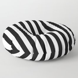 Black and White Even Small Stripes Floor Pillow