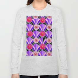 Pink & Fuchsia Purple Art Deco Floral Art Long Sleeve T-shirt