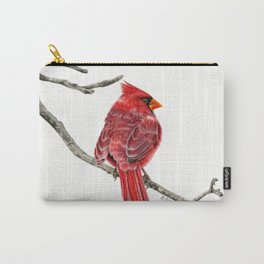 Winter Cardinal On White Carry-All Pouch