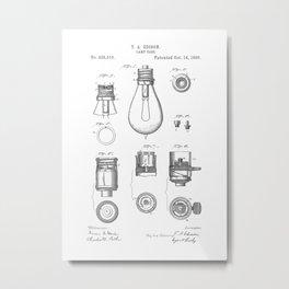 patent art Edison 1890 Lamp base Metal Print
