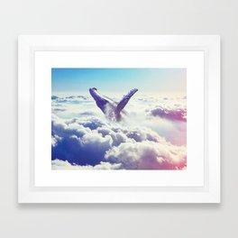 Cloudy whale Framed Art Print