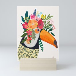 Toucan with flowers on head Mini Art Print