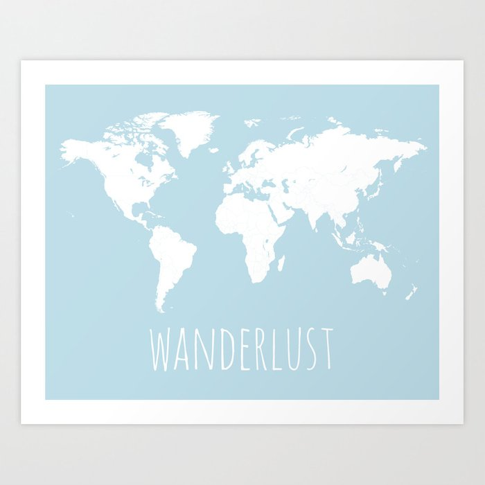 World map wanderlust quote modern travel map in light blue with world map wanderlust quote modern travel map in light blue with white countries art gumiabroncs Images