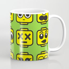 Yellow Cartoon Faces on Green Background Coffee Mug