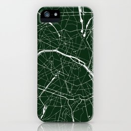Paris France Minimal Street Map - Forest Green iPhone Case