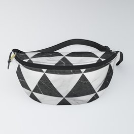 Marble Triangle Pattern - Black and White Fanny Pack