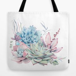 Pretty Pastel Succulents Tote Bag