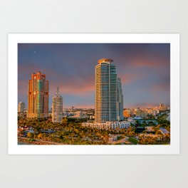 Two Colorful High Rise Tropical Condos Art Print