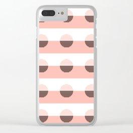 Horizons Geometric Sun Shine Stripe Design 7 - Peach Pink Clear iPhone Case