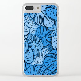 Monstera Leaves Blue Clear iPhone Case