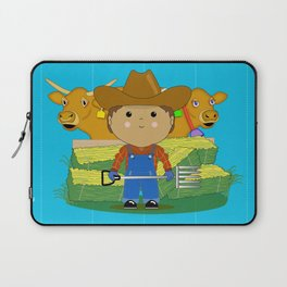 Rancher Dude With Cattle (Kawaii Style) Laptop Sleeve