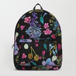 Tossed Florals on Black Backpack