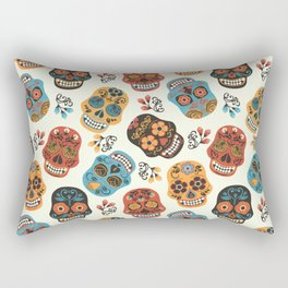 Colorful retro floral sugar skulls pattern Rectangular Pillow