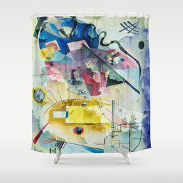 Displacement Glitch-Colorful Abstract Art Shower Curtain