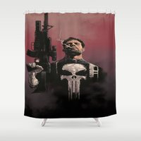 punisher Shower Curtains featuring Punisher by Dave Seguin