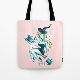 Blonde Witch with Kitty Tote Bag