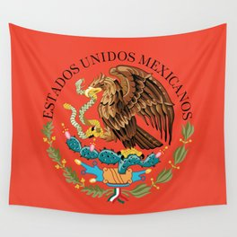 Close up of the Seal from the flag of Mexico on Adobe red background Wall Tapestry