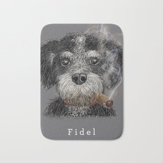 Fidel - The Havanese is the national dog of Cuba Bath Mat