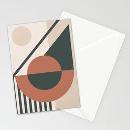 42502-1-p1, Set Green & Burnt orange, Bauhaus Style Art, Boho decor Stationery Cards