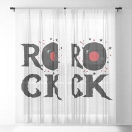 Rock illustration Sheer Curtain