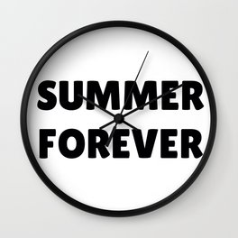 Summer Forever in Black Wall Clock