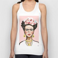 frida kahlo Tank Tops featuring Frida Kahlo by devinepaintings