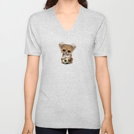 Leopard Cub With Football Soccer Ball Unisex V-Neck