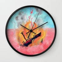 wreck it ralph Wall Clocks featuring ship wreck. by BRUM.