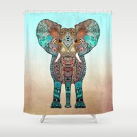 clockwork orange Shower Curtains featuring ElePHANT by Monika Strigel