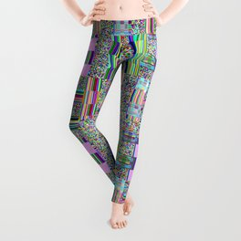 Glitch effect psychedelic background. Leggings