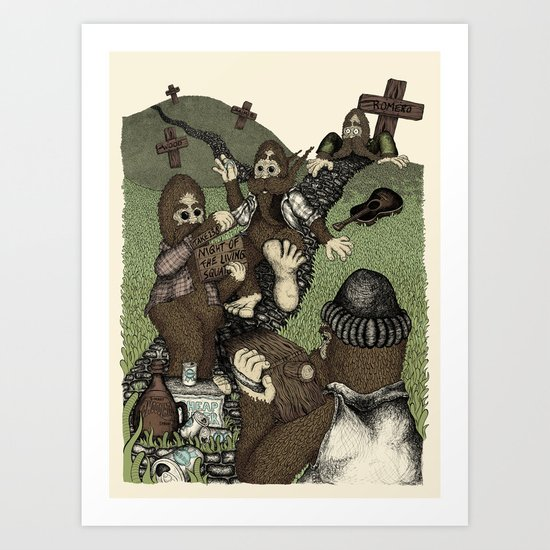 Night of the Living Squatch Art Print