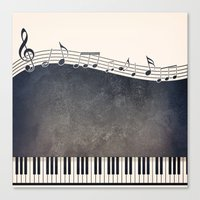piano Canvas Prints featuring Piano by Gosia
