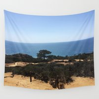 hiking Wall Tapestries featuring Hiking at the beach by Barb R. White