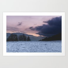 The colors of the sky during sunset with clouds in Austria. Art Print
